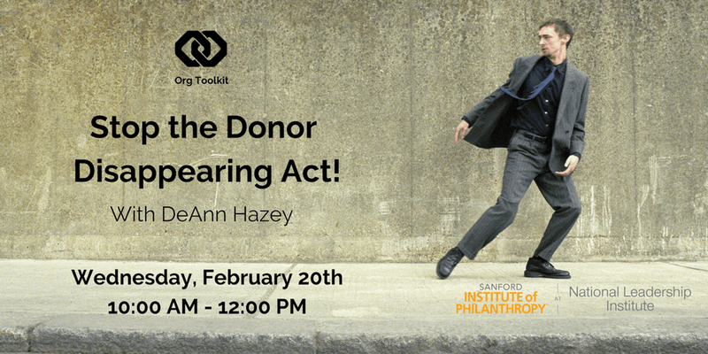 Org Toolkit: Stop the Donor Disappearing Act!